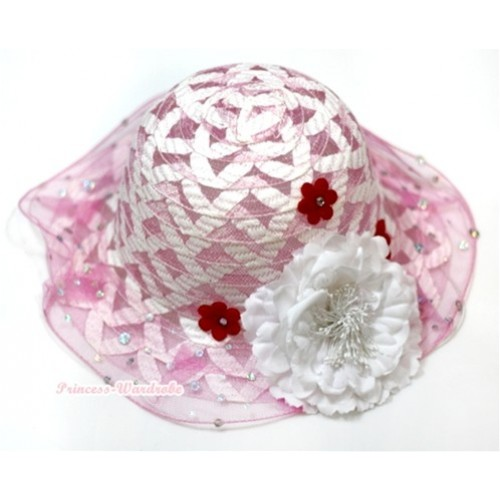 Light Pink White Crisscross Summer Beach Straw Hat With White Peony H643