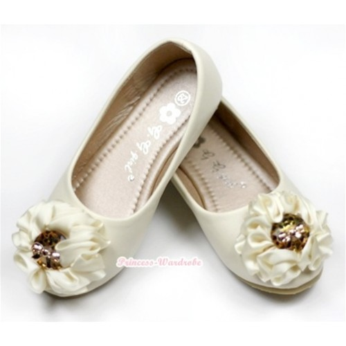 Ivory Cream White Sunflower Rose Open Toe Shoes 238-155Beige