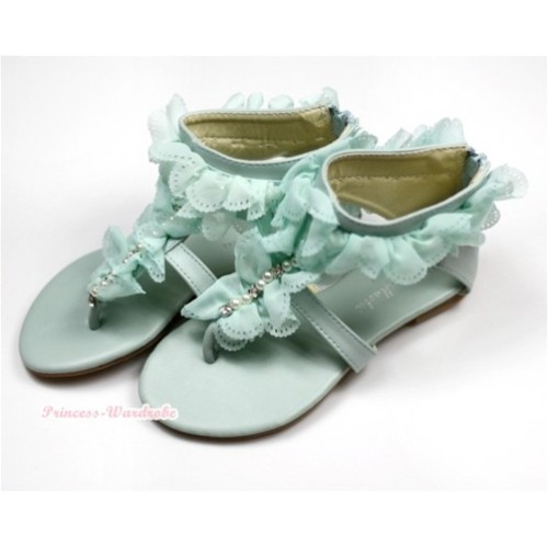 Light Blue Flower Lacing Pearl T-Strap Flat Ankle Sandals 001-494Light Blue