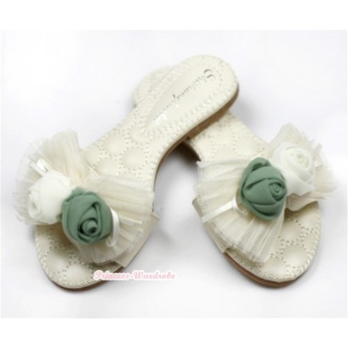 Ivory Cream White Rosettes Chiffon Bow Flip Flop 102Beige