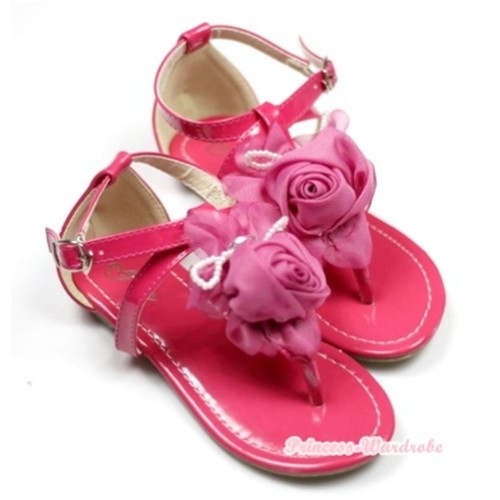 Hot Pink Chiffon Rosettes Pearl T-Strap Flat Ankle Sandals A88-7Hot Pink