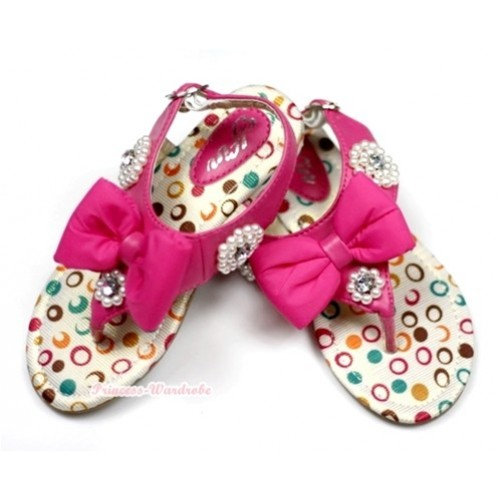 Hot Pink Bow Rainbow Polka Dots Pearl T-Strap Flat Slingback Sandals A813-5Hot Pink