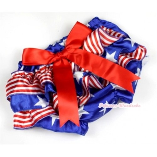 Patriotic American Stars Red White Striped Satin Layer Panties Bloomers With Red Big Bow BC134