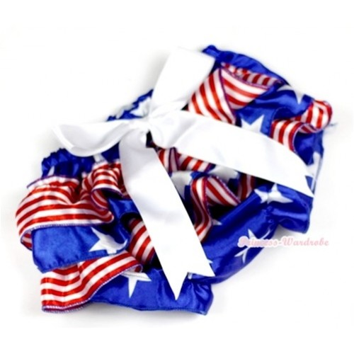 Patriotic American Stars Red White Striped Satin Layer Panties Bloomers With White Big Bow BC136