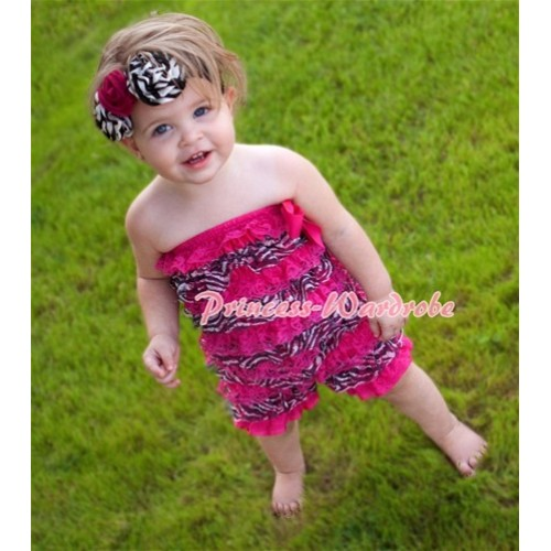 Zebra Hot Pink Layer Chiffon Romper with Hot Pink Bow LR54