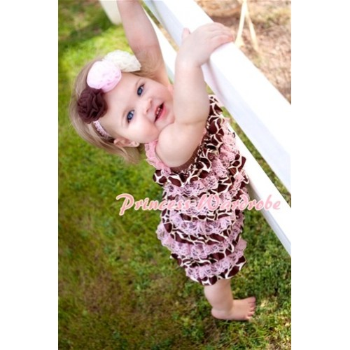 Giraffe Light Pink Layer Chiffon Romper with Light Pink Bow & Straps LR59