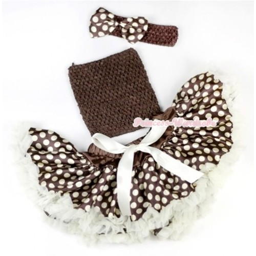 Cream White Brown Gold Polka Dots Baby Pettiskirt,Brown Crochet Tube Top, Brown Headband with Brown Gold Polka Dots Satin Bow 3PC Set CT546