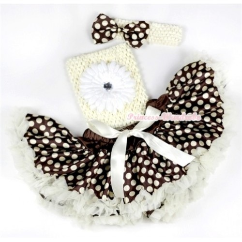 Cream White Brown Gold Polka Dots Baby Pettiskirt,White Flower and Cream White Crochet Tube Top, Cream White Headband with Brown Gold Polka Dots Satin Bow 3PC Set CT547
