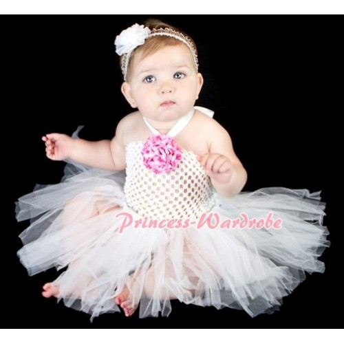 White Crochet Tube Top with White Knotted Tutu HT01