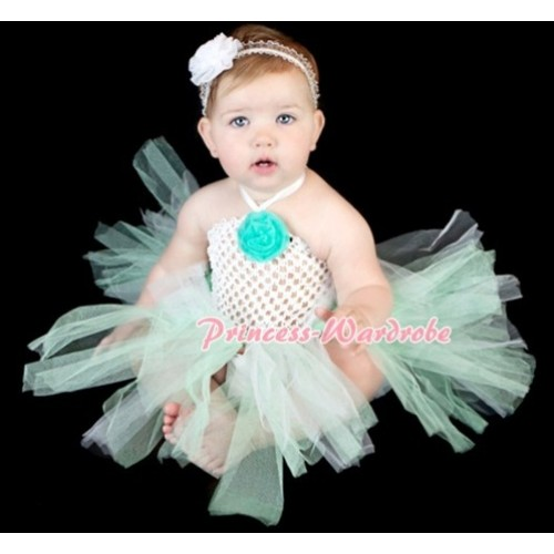 White Crochet Tube Top with Lime Green Knotted Tutu HT02