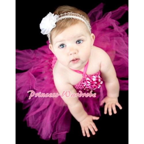 Hot Pink Crochet Tube Top with Hot Pink Knotted Tutu HT05