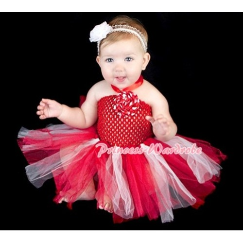 Hot Red Crochet Tube Top with Red White Knotted Tutu HT07