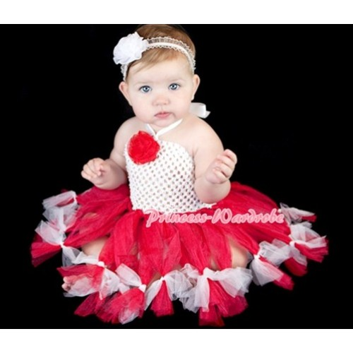 Special Style White Crochet Tube Top with Red White Knotted Tutu HT08