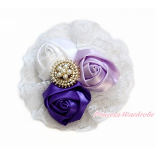 Pearl White Dark Light Purple Satin Rosettes Lace Hair Clip H839