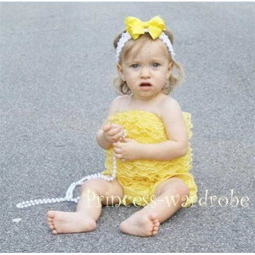 Yellow Lace Ruffles Petti Rompers LR03