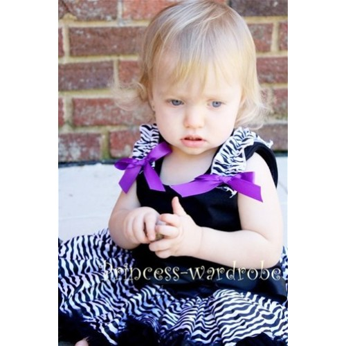 Black Pettitop & Zebra Ruffles & Dark Purple Bow TB42