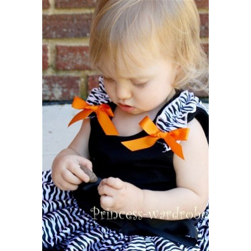 Black Zebra Ruffles Pettitop with Orange Bow TB45