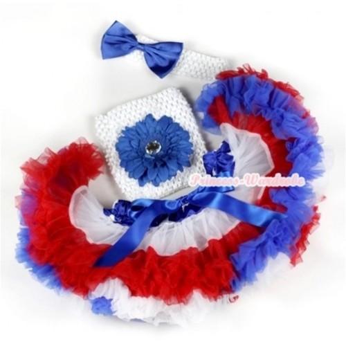 American Stars Waist Red White Royal Blue Premium Baby Pettiskirt,Royal Blue Flower & White Crochet Tube Top, White Headband with Royal Blue Satin Bow 3PC Set CT561