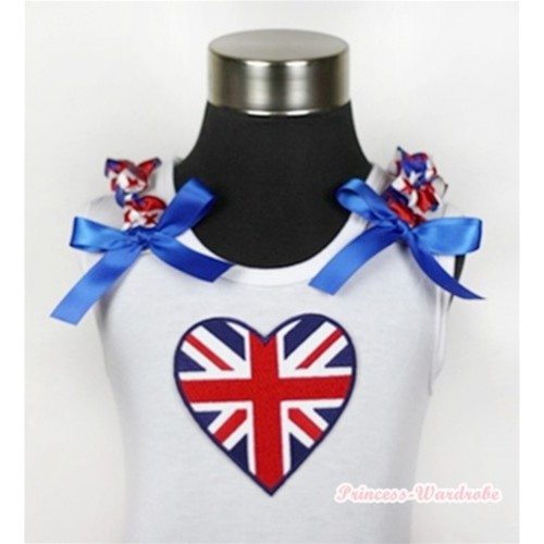 White Tank Top With Patriotic British Heart Print with Red White Royal Blue Striped Stars Ruffles & Royal Blue Bow TB367