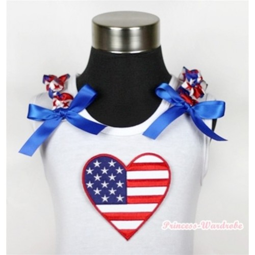 White Tank Top With Patriotic American Heart Print with Red White Royal Blue Striped Stars Ruffles & Royal Blue Bow TB368