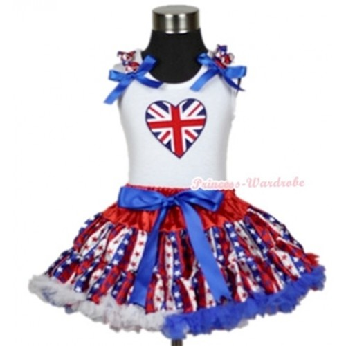 White Tank Top with Patriotic British Heart Print with Red White Royal Blue Striped Stars Ruffles & Royal Blue Bow & Red White Royal Blue Striped Stars Pettiskirt MG596