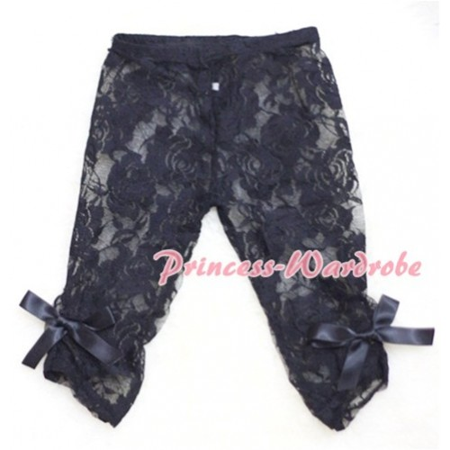 Pure Black Flower Pattern See-through Lace Legging LG129