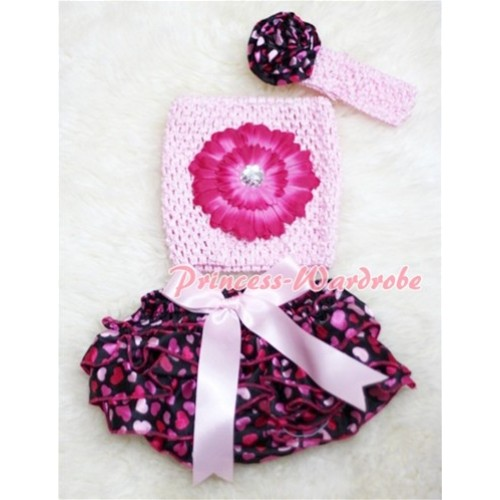 Big Bow Hot Pink Heart Panties Bloomers with Hot Pink Flower Light Pink Crochet Tube Top and Rose Headband 3PC Set CT86