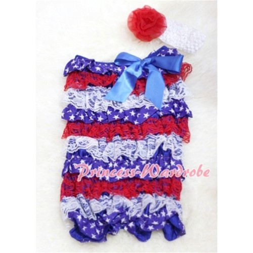 Patriotic America Red White Blue Layer Chiffon Romper with Royal Blue Bow with Headband Set RH23