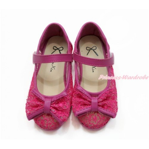 Hot Pink Lace See Through With Bow Slip On Girl Shoes 002HotPink