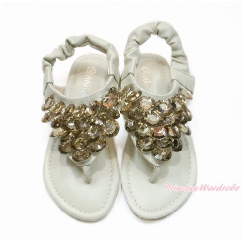 Cream White Sparkle Gold Crystal Bling Rhinestone T-Strap Flat Ankle Sandals L01CreamWhite