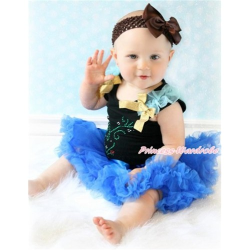 Black Baby Pettitop with Light Blue Ruffles & Sparkle Goldenrod Bows with Sparkle Crystal Bling Rhinestone Princess Anna Print & Royal Blue Newborn Pettiskirt With Brown Headband Brown Silk Bow NG1458