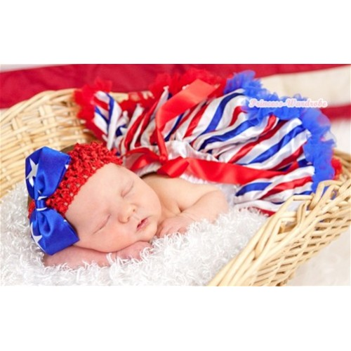 Red White Royal Blue Striped Newborn Pettiskirt N120
