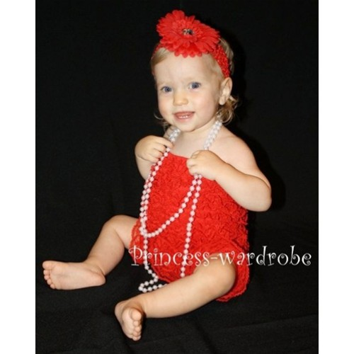 Red Lace Ruffles Petti Rompers LR05