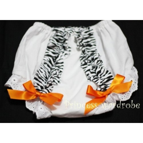 White Bloomer & Zebra Ruffles & Orange Bows Bloomers BZ02
