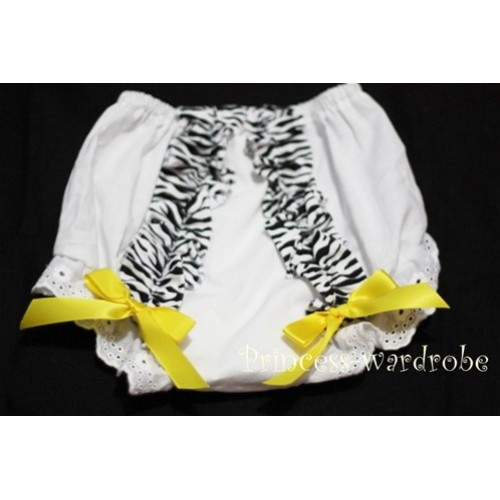 White Bloomer & Zebra Ruffles & Yellow Bows Bloomers BZ04