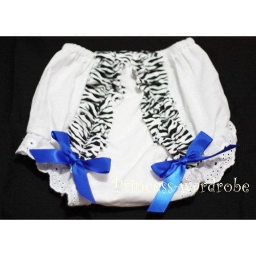 White Bloomer & Zebra Ruffles & Royal Blue Bows Bloomers BZ05