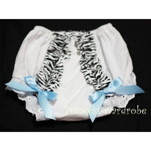 White Bloomer & Zebra Ruffles & Light Blue Bows Bloomers BZ06