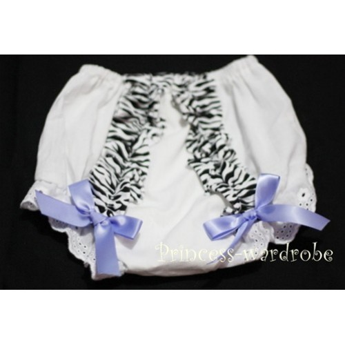 White Bloomer & Zebra Ruffles & lavender Bows Bloomers BZ08