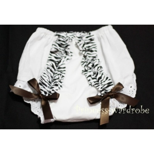 White Bloomer & Zebra Ruffles & Brown Bows Bloomers BZ11