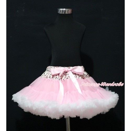 Light Pink Leopard Waist Light Pink White Adult Pettiskirt XXXL AP94