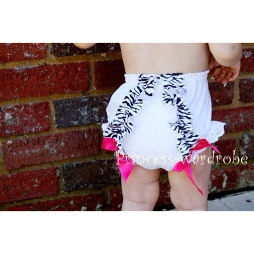 White Bloomer & Zebra Ruffles & Hot Pink Bows Bloomers BZ09