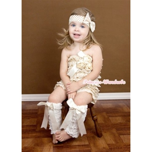 Ivory Cream White Lace Romper With Big Bow & Bunch Of Cream White Satin Rosettes & Crystal ,With Cream White Big Bow Cream White Lace Leg Warmer & Cream White Headband Cream White Satin Bow 3PC Set RH138