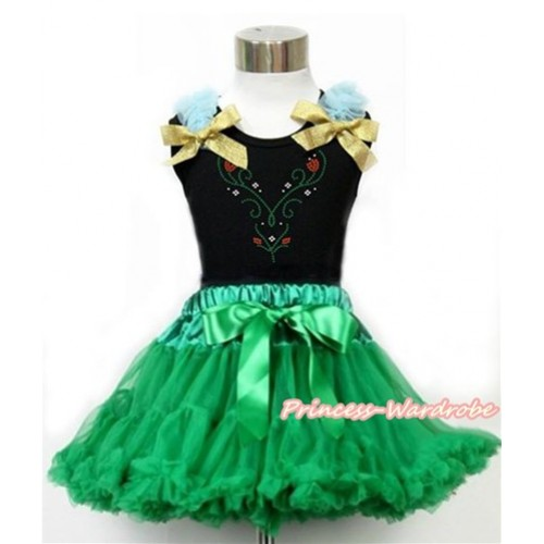 Black Tank Top with Light Blue Ruffles & Sparkle Goldenrod Bow with Sparkle Crystal Bling Rhinestone Princess Anna Print & Kelly Green Pettiskirt MG1177