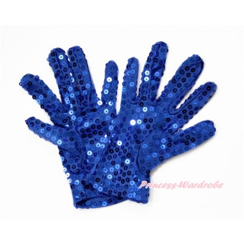 Royal Blue Sparkle Sequins Gloves Party Costume C259