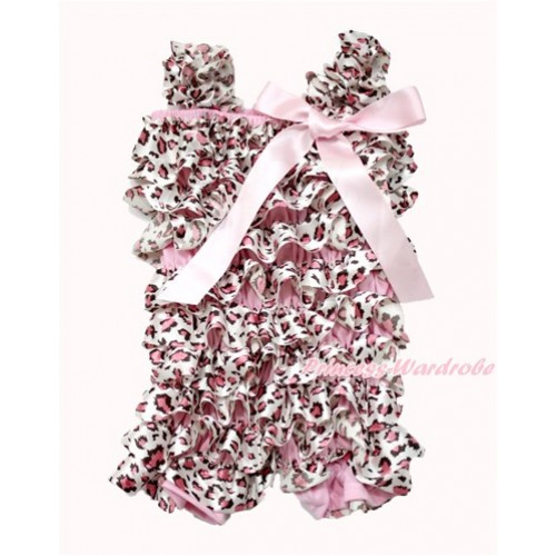 Light Pink Leopard Petti Romper with Light Pink Bow & Straps LR180