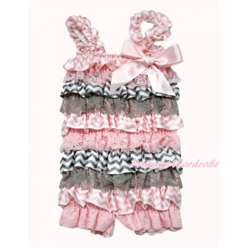 Light Pink Grey White Chevron Petti Romper with Light Pink Bow & Straps LR181