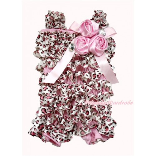 Light Pink Leopard Petti Romper with Light Pink Bow & Straps & Bunch of Light Pink Satin Rosettes& Crystal LR182