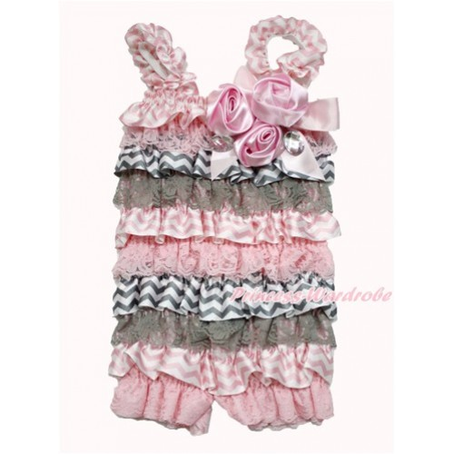 Light Pink Grey White Chevron Petti Romper with Light Pink Bow & Straps & Bunch of Light Pink Satin Rosettes& Crystal LR183