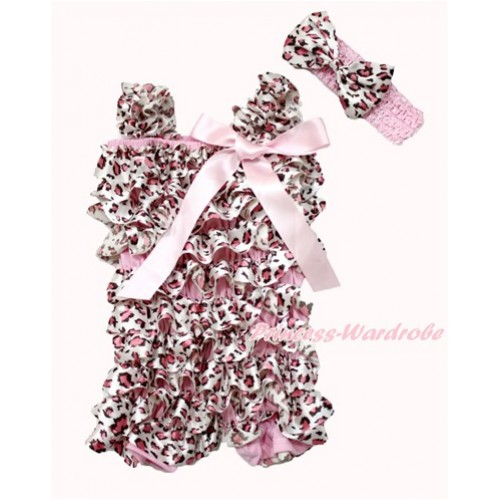 Light Pink Leopard Satin Petti Romper with Light Pink Bow & Straps With Light Pink Headband Light Pink Leopard Satin Bow 2pc Set RH141