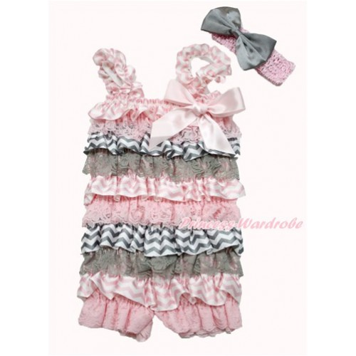 Light Pink Grey White Chevron Satin Petti Romper with Light Pink Bow & Straps With Light Pink Headband Grey Satin Bow 2pc Set RH142